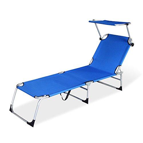 Hengda® Alu Sonnenliege mit Sonnendach Strandliege Gartenliege Liege mit Dach Klappbar Verstellbar, blau