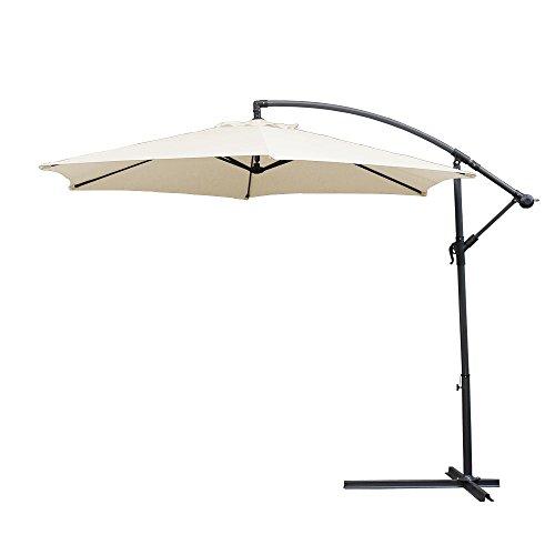 Hengda® Sonnenschirm Garten Schirm Marktschirm Ampelschirm Kurbel Schirm für Garten, Terrasse, Loggia, Balkon, Camping-Platz, Pool, Planschbecken