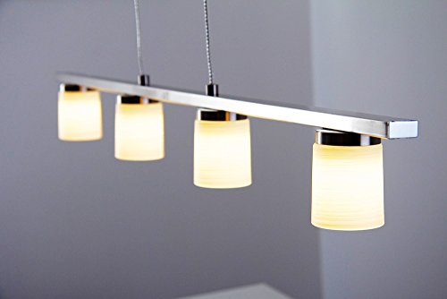 Höhenverstellbare Dimmbare LED Hängeleuchte Monza 4 x 5 Watt - 380 Lumen - 3000 Kelvin mit Touch-Dimmer an der Leuchte