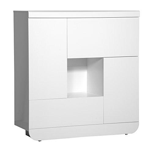 Highboard FLOYD weiss hochglanz Lack Hochschrank Esszimmer Hoch Schrank Wohnzimmer Vitrine optional LED Beleuchtung