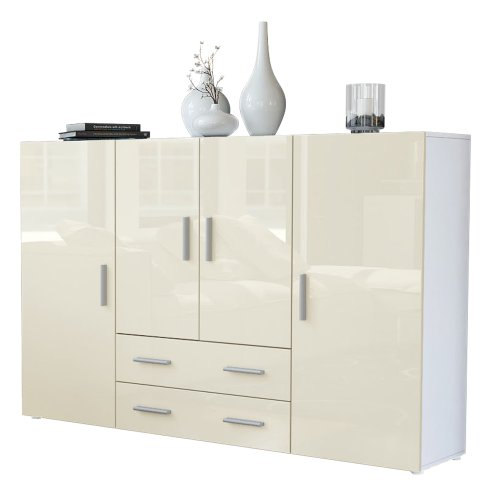 Highboard Sideboard Nora in Weiß / Creme Hochglanz