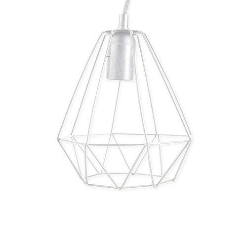 Hängelampe Gitter Hänge Lampe Designlampe Pendelleuchte Leuchte Pendel E27 (Weiß)
