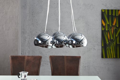 Hängelampe Pendelleuchte Design 6 Chrom Halbkugeln 115 cm lang