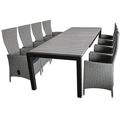 Hochwertige-9tlg-Sitzgarnitur-Sitzgruppe-Gartengarnitur-Gartenmbel-Terrassenmbel-Set-XXL-Ausziehtisch-Polywood-224284344x100cm-8x-Gartensessel-grau-meliert-stufenlos-verstellbar-Sitzkissen-0