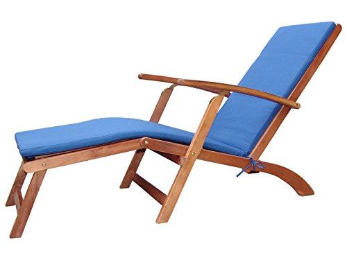 Holz Sonnenliege Gartenliege Deckchair Liege Liegestuhl Gartenstuhl verstellbar inkl. Polster