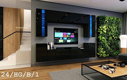 HomeDirectLTD Wohnwand FUTURE 24 Moderne Wohnwand, Exklusive Mediamöbel, TV-Schrank, Neue Garnitur, Große Farbauswahl (RGB LED-Beleuchtung Verfügbar)