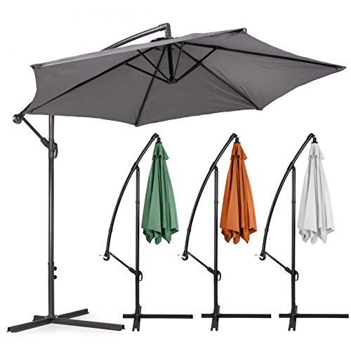 Homelux Ampelschirm Garten Sonnenschirm mit Kurbelvorrichtung, Ø 270-350 cm
