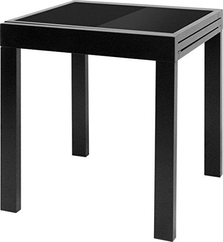 IB-Style - DIPLOMAT Gartentisch-S | Aluminium SCHWARZ | Premium Ausziehtisch SCHWARZ 65 -130 cm Gartentisch