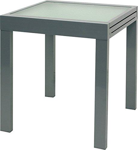 IB-Style - DIPLOMAT Gartentisch-S | Aluminium SILBERMATT | Premium Ausziehtisch silbermatt 65 -130 cm Gartentisch