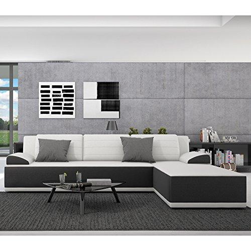 Innocent Ecksofa mit Schlaffunktion aus Kunstleder schwarz weiße Sitzfläche und Kissen Kiro