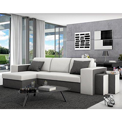 Innocent-Ecksofa-mit-Schlaffunktion-aus-Kunstleder-und-Textil-grau-mit-weier-Sitzflche-Milio-0