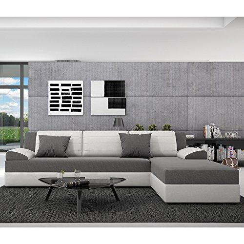Innocent Ecksofa mit Schlaffunktion aus Kunstleder weiß und Sitzfläche Textil grau Rasasy