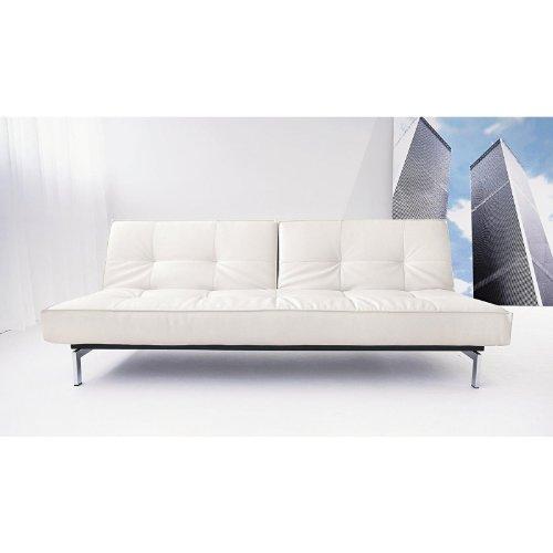 Innovation Splitback Schlafsofa, weiß Kunstleder 588 Leather Look White Gestell Chrom