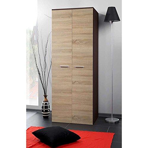 JUSThome 2D Drehtürenschrank Kleiderschrank Garderobenschrank (HxBxT): 190x70x55 cm Wenge Matt / Sonoma Eiche