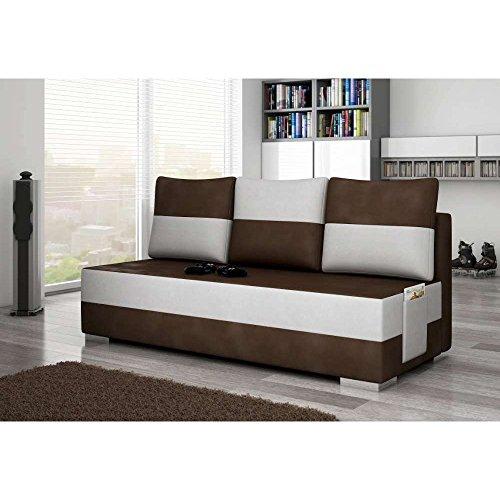 JUSThome Atila Einzelsofa Sofa Couch Stoffbezug Kunstleder (HxBxT): 95x200x73 cm Braun Weiß