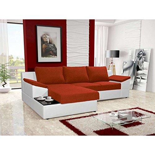 JUSThome Atlanta Ecksofa Polsterecke Schlafsofa Stoffbezug Kunstleder (BxLxH): 166x262x86 cm Weiß Rot Ottomane links