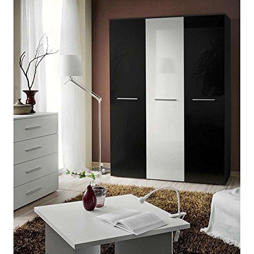 Justhome big dreht renschrank kleiderschrank for Garderobenschrank schwarz hochglanz