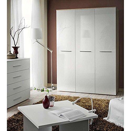 JUSThome BIG Drehtürenschrank Kleiderschrank Garderobenschrank (HxBxT): 190x135x55 cm Sonoma Eiche / Weiß Hochglanz