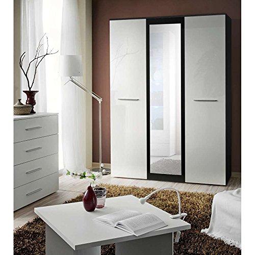 JUSThome-BIG-mit-Spiegel-Drehtrenschrank-Kleiderschrank-Garderobenschrank-HxBxT-190x135x55-cm-Schwarz-Matt-Wei-Hochglanz-0