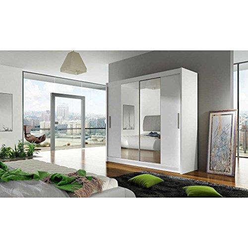 JUSThome Dallas Schwebetürenschrank Kleiderschrank Garderobenschrank (HxBxT): 215x180x58 cm Farbe: Weiß