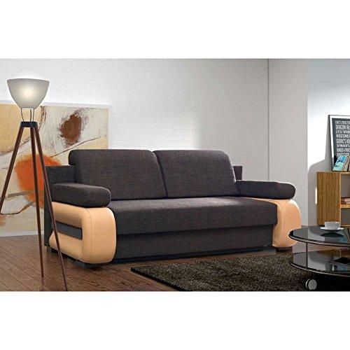 JUSThome Laura Einzelsofa Sofa Schlafsofa Strukturstoff Kunstleder (HxBxT): 100x200x89 cm Braun Orange
