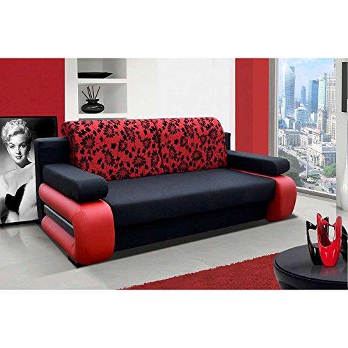 JUSThome Laura Einzelsofa Sofa Schlafsofa Strukturstoff Kunstleder (HxBxT): 100x200x89 cm Schwarz Rot