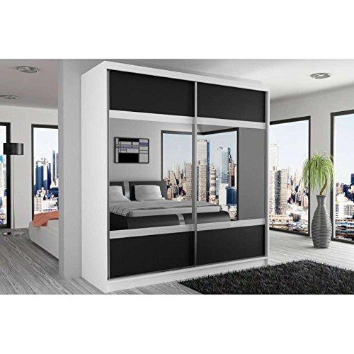 JUSThome-Mirror-V-Schwebetrenschrank-Kleiderschrank-Garderobenschrank-218x133x60-cm-Farbe-Wei-Schwarz-Wei-Spiegel-0