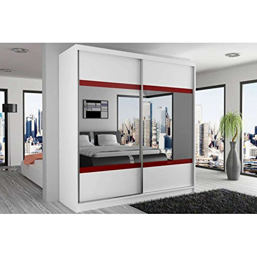 justhome mirror vi schwebet renschrank kleiderschrank garderobenschrank 218x133x60 cm farbe. Black Bedroom Furniture Sets. Home Design Ideas