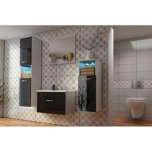 JUSThome-POLA-STANDARD-Badezimmerset-Badmbelset-Waschplatz-4-teilig-Farbe-Wei-Schwarz-Hochglanz-0