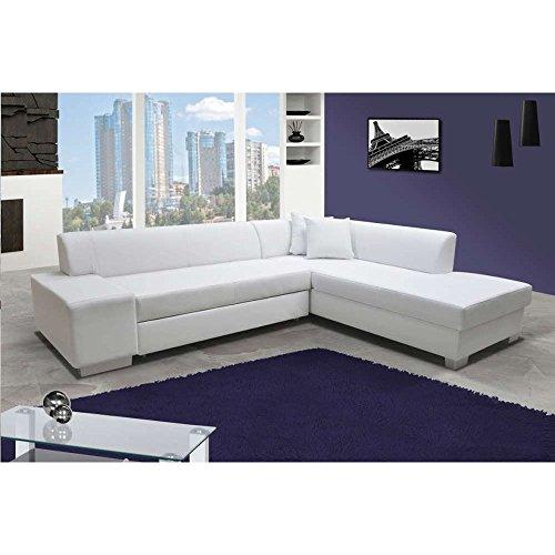 JUSThome Porto Ecksofa Polsterecke Schlafsofa Kunstleder (HxBxT): 73x278x216 cm Weiß Ottomane rechts