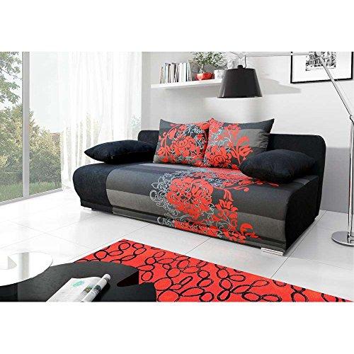 JUSThome Roma Einzelsofa Sofa Schlafsofa Mikrofaser Strukturstoff (HxBxT): 90x200x95 cm Schwarz Rot