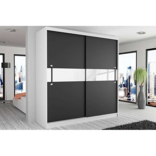 justhome simply ii schwebetrenschrank kleiderschrank garderobenschrank 218x133x60 cm farbe wei. Black Bedroom Furniture Sets. Home Design Ideas