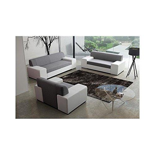 JUSThome Torino Polstergarnitur Wohnzimmerset Sofagarnitur (2R+3R+1R) Strukturstoff Kunstleder Weiß Grau