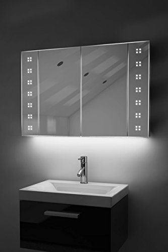 K121 Badezimmer-Spiegelschrank, Ambiente, mit Sensor & Rasiersteckdose, Diamond X Collection, 600x900x110mm (HxBxT) weiß