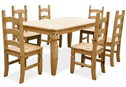 "KMH®, 7-Teilige Esszimmer Sitzgruppe ""Corona"" aus massivem Pinienholz (#201010)"