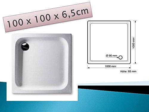 KOMPLETT-PAKET: Duschwanne 100 x 100 cm flach weiß Acryl + Styroporträger / Wannenträger + Ablaufgarnitur chrom DN 90