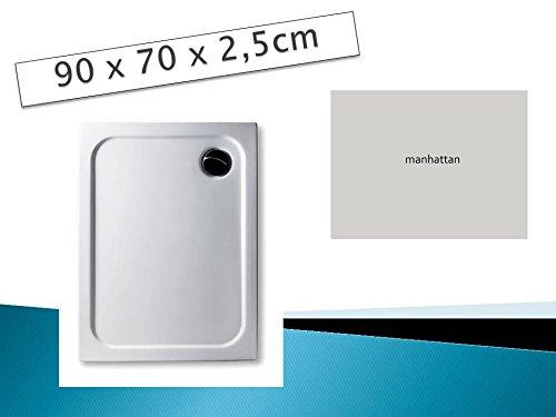 KOMPLETT-PAKET: Duschwanne 90 x 70 cm Farbe: MANHATTAN superflach Acryl + Styroporträger / Wannenträger + Ablaufgarnitur chrom DN 90