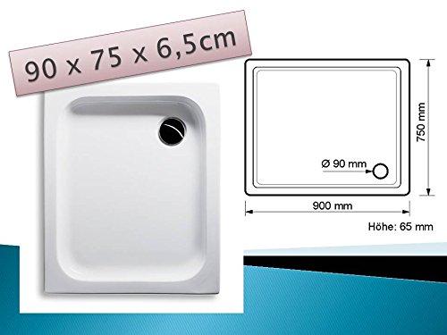 KOMPLETT-PAKET: Duschwanne 90 x 75 cm flach weiß Acryl + Styroporträger / Wannenträger + Ablaufgarnitur chrom DN 90