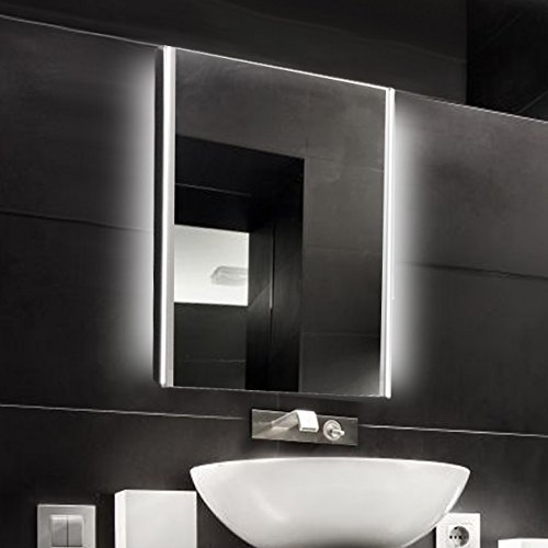 KROLLMANN Badspiegel 50 x 70 cm beleuchtet durch LED-Lichtfelder, Badezimmer Spiegel mit Beleuchtung