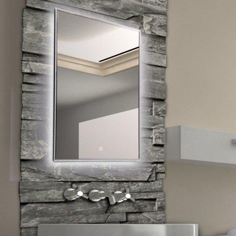 KROLLMANN Badspiegel Badezimmerspiegel mit Beleuchtung, 60 x 80 cm Wand-Spiegel mit Licht