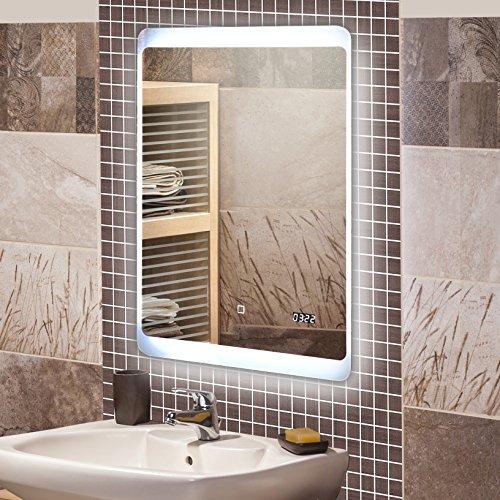 krollmann badspiegel led spiegel ohne rahmen 50 x 70 cm aus kristallglas mit beleuchtung und. Black Bedroom Furniture Sets. Home Design Ideas