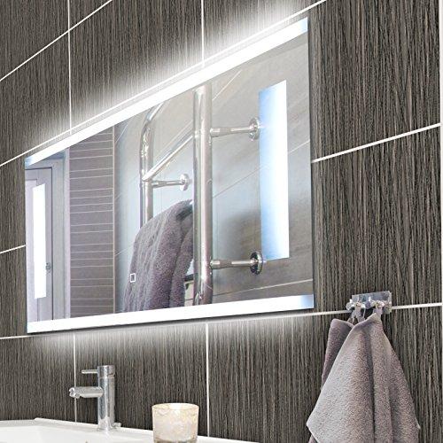 KROLLMANN Badspiegel mit Beleuchtung, LED Spiegel rahmenlos aus Kristallglas beleuchtet, 80 x 40 cm Spiegel ohne Rahmen