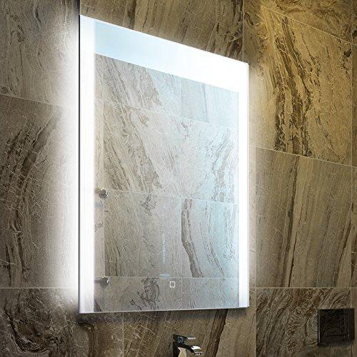 KROLLMANN Badspiegel mit Beleuchtung, integrierter Touch Sensor 50x70cm, LED Badezimmer Spiegel