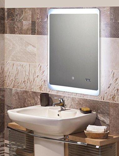 KROLLMANN Badspiegel mit LED Beleuchtung Touch Sensor Integrierte Digitaluhr mit Memory-Funktion Satinierte Lichtflächen 70 x 50 cm