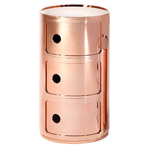 Kartell Componibili 3-er Container metallisiert RR/kupfer