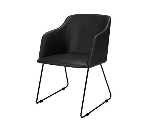 Küchenstuhl Caius Schwarz Metallfuß 42x80 mit Armlehne Esszimmerstuhl