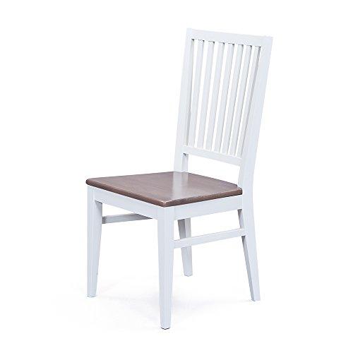 Küchenstuhl in Weiß Braun Buche massiv (2er Set) Pharao24