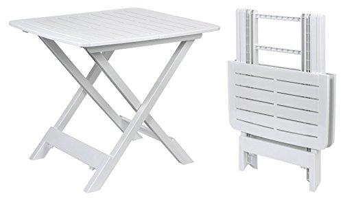 """Klapptisch """"TEVERE"""" in weiß - 80x72x70 cm - Garten- oder Campingtisch - ideal als Beistelltisch"""