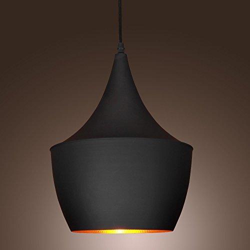 Künstlerischen Retro Design Hängeleuchte Pendellampe schwarzen Schirm Pendelleucht Hängelampe (B)