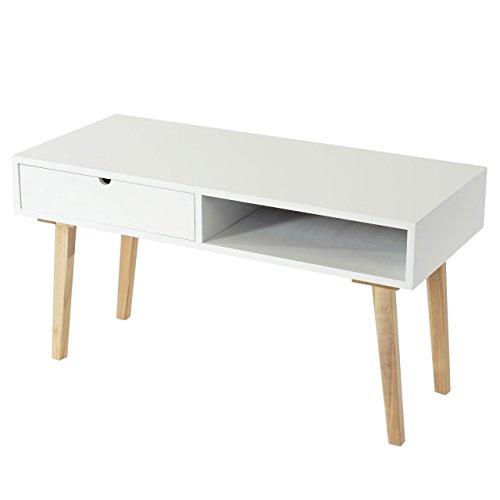 Kommode-Malm-T265-Beistelltisch-Schrank-Retro-Design-49x90x40cm-Schublade-wei-0